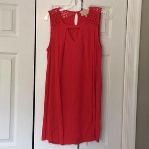 Skies are Blue red orange crochet shoulder dress